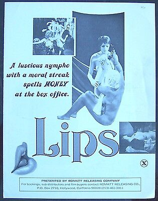 LIPS From Man to Man's Best Friend! Nympho RATED X Adult MOVIE PRESSBOOK 1972