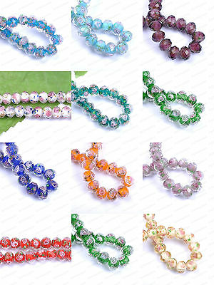 Faceted Rondelle Flower Lampwork Glass Beads Pick Your Colour 10MM 12MM