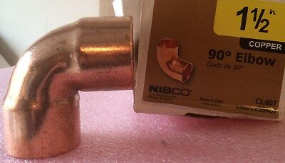 "NIBCO 1 1/2 inch 90 Degree Copper Elbow - NEW - 1-1/2"" Plumbing Fitting"
