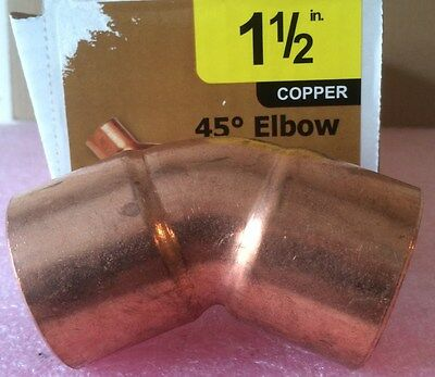"NIBCO 1 1/2 inch Copper 45-Degree Elbow - NEW - 1-1/2"" Plumbing Fitting"