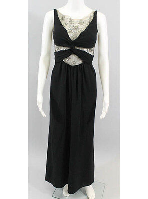 AUTH VALENTINO Black Spaghetti Strap Sheer Beaded Panel Knotted Dress Gown Sz 4