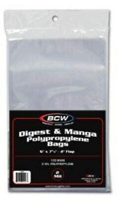 300 BCW Manga / Readers Digest 2 Mil Poly Bags 6 X 7 5/8 Archival Safe Acid Free