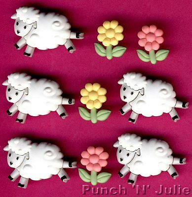 COUNTING SHEEP  Lamb Flower Baby Sleep Sweet Dreams Dress It Up Craft Buttons