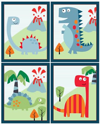 "Set of 4 Unframed ""Dinosaur Roar"" 8x10 inch Linen Look Nursery Wall Art Prints"
