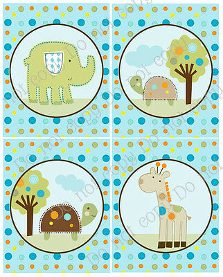 "A set of 4 Unframed ""Giggle Gang Animals/Elephant"""" 8x10 Nursery Art Prints"