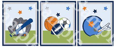 "A set of 3 Unframed ""Little Sports Player"" 8x10 Nursery Art Prints Boys Theme"