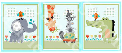 "A set of 3 Unframed ""Yoo Hoo/Safari/Jungle Animals"" 8x10 Nursery Art Prints"