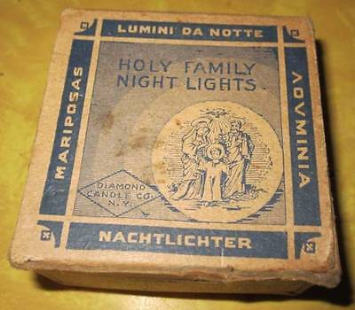 Vintage Holy Family Night Lights mini floating candles 1940's