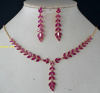 105CT TOP CLASS NATURAL RUBY NECKLACE  & EARRINGS Gold SET