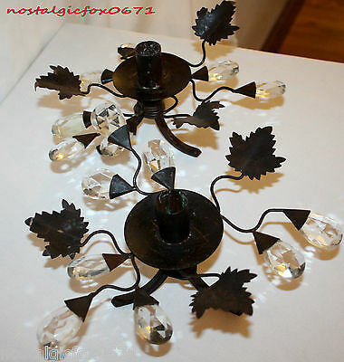 Pr Contemporary Rustic Brown Wrought Iron w/Leaves/Crystals Taper Candle Holders