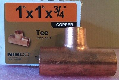 NIBCO 1 inch x 1 inch x  3/4 inch Copper Tee - NEW -  Plumbing Fitting