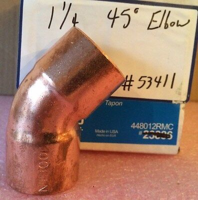 """NIBCO 1 1/4 inch Copper 45-Degree Elbow - NEW - 1-1/4"""" Plumbing Fitting"""