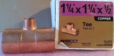 NIBCO 1 1/4 inch x 1 1/4 inch x  1/2 inch Copper Tee - NEW -  Plumbing Fitting