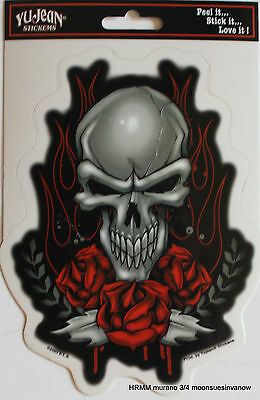 81ea16d7054a2 Biker Enthusiast Skull Sticker Red Rose Flame Car Decal window Motorcyle  Tank