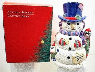 1992 Snowman Cookie Jar Christmas Holiday Keep Your Mittens Off My Cookies