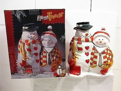 Vintage Cookie Jar Mr Mrs Snowman Christmas Holiday Let It Snow 1999