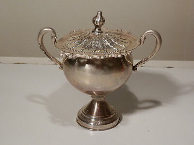 BEAUTIFUL ANTIQUE 800 COIN SILVER SUGAR BOWL & LID  W SLOTS FOR 6 DEMI SPOONS