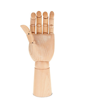 """11"""" Artists Wooden Left Male Hand Lay Figure Sketch Drawing Aid Mannequin Wh111"""