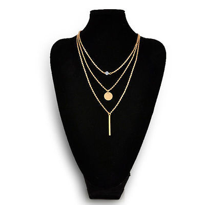 Women Jewelry Geometry Bead Charms Crystal 3 Layers Gold Chain Fashion Necklace