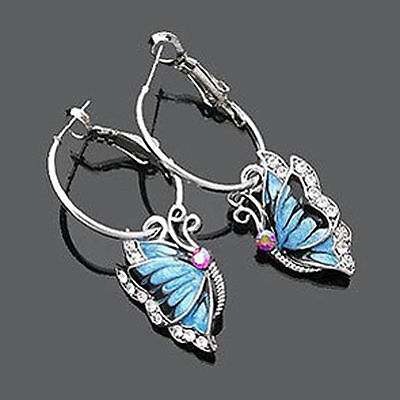 Women Blue Crystal Rhinestone Enamel Butterfly Dangle Hoop Earrings Jewelry Gift