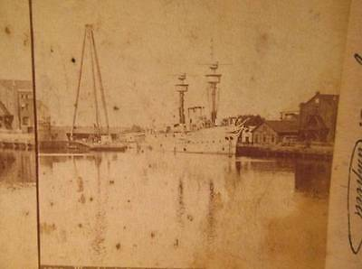 Warships in Dock at Kiel Alfred S Campbell 1896 B&W Stereoview #1709