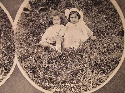 Babes in the Woods little girls in field Vintage B&W Halftone 3D Stereoview
