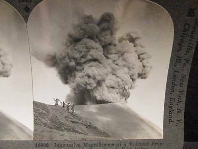 Volcanic Eruption in Java #16400 Antique B&W Keystone Stereoview