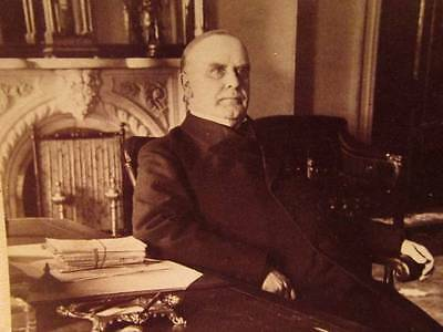 President Wm McKinley at his desk in the White House 1899 Underwood Stereoview