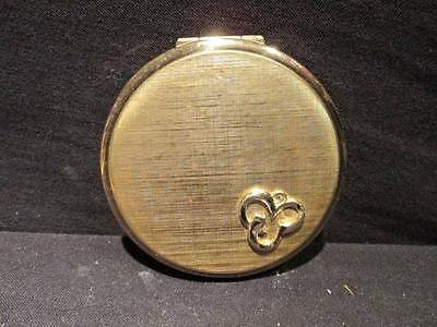 Stratton Vintage Gold-Tone Metal Compact Shamrock Design with puff