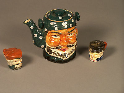 1 Tea Pot and a Set of Salt & Pepper Shakers Hand Painted - Made in Japan