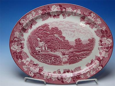 Red Enoch Woods & Sons English Scenery Oval Serving Platter