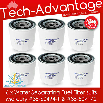 6 X Boat Water Separating Outboard Fuel Filters (Mercury 35-60494-1 & 35-807172)