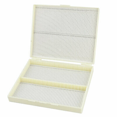 Rectangular Microscope Glass Case Slide Box Beige w Lid for 100 Slides