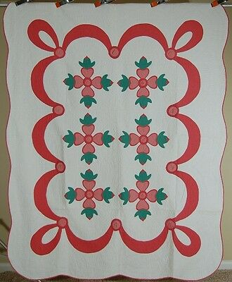 MATCHED PAIR of 30s Vintage Rose of Sharon Applique Antique Quilt ~BEST QUILTING