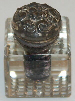 Antique Art Deco Cut Glass Silverplate Inkwell
