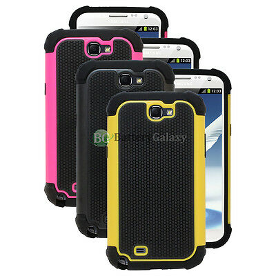 Lot of 3 Pink/Black/Yellow Hybrid Rubber Case Cover for Samsung Galaxy Note 2