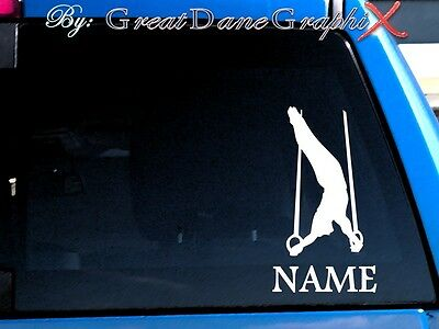 Gymnastics Gymnast Rings PERSONALIZE Vinyl Decal Sticker -Color- HIGH QUALITY