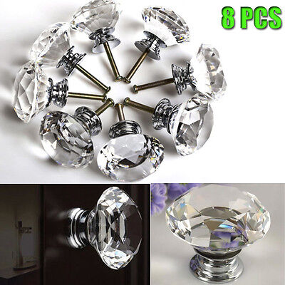 40mm 8 x Diamond Crystal Glass Door Knob Drawer Cabinet Kitchen Furniture Handle