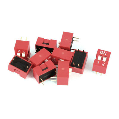 10 Pcs Red 2.54mm Pitch 4 Pins 2 Positions Ways Slide Type DIP Switch