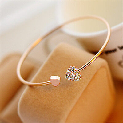Women Fashion Jewelry Simple Gold Rhinestone Love Heart Bangle Cuff Bracelet New