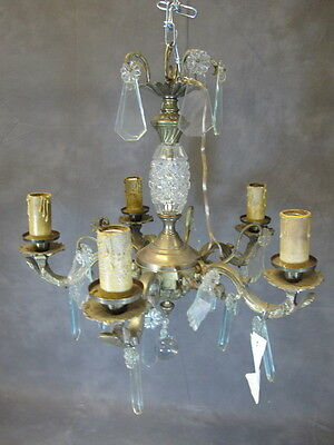 Great Antique French Bronze & Glass Chandelier - 1767