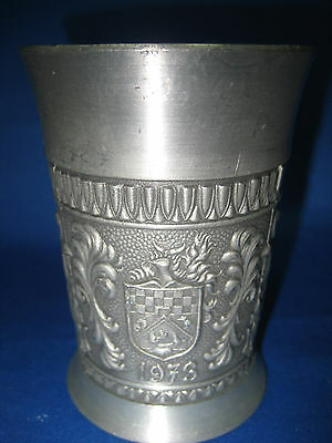 """4 1/4 """" Antique German Solid Pewter Embossed & Engraved Cup/Container Beautiful"""
