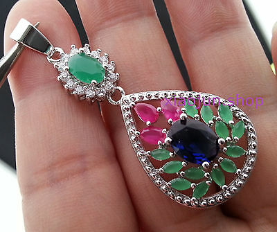 NATURAL Red Ruby & Green Emerald &Blue Sapphire sliver Pendant
