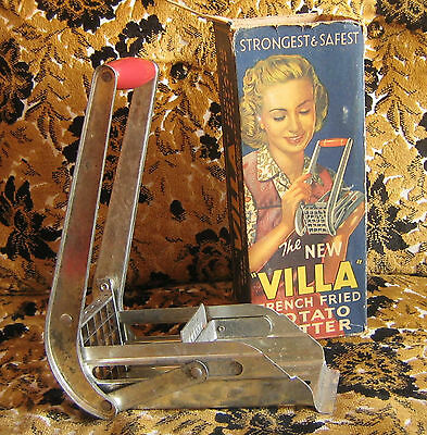 """IN BOX Vintage """"Villa"""" French Fried Potato Cutter 2 Dozen Fries Green with Box"""