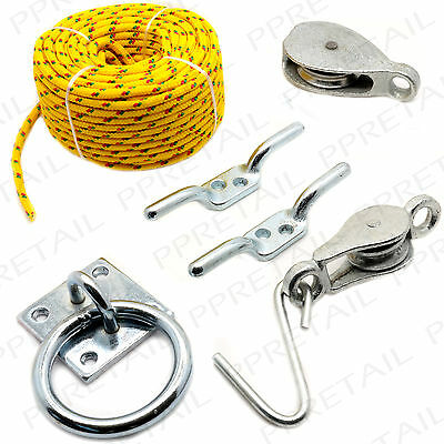 WASHING LINE PULLEY ASSORTMENT KIT Outdoor/Garden/Clothes/Airer/Cord/Hanging/Set