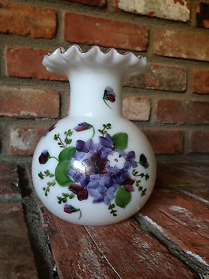Consolidated Glass Con Cora pattern, painted Violets decoration, Milk glass Vase