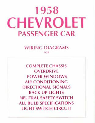 1958 CHEVROLET WIRING Diagram Manual 58 Chevy - $9.00 | PicClick on