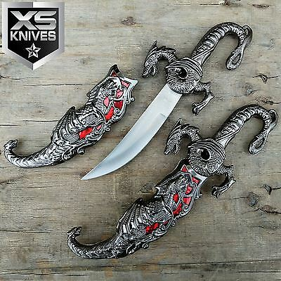 "10"" RED INLAY FANTASY DRAGON DAGGER w/ SHEATH Fixed Blade Knife Sword GIFT"