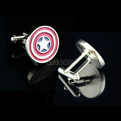 Stainless Steel Silver Vintage Men's Wedding Gift Captain America Cuff Links New