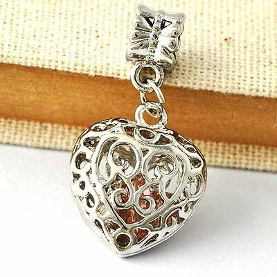 Classy Womens RED CZ  Heart Pendant White Gold Filled/Silver A643